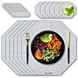 FILZTIS Tischsets Abwaschbar Grau aus Filz in Achteckform | 18-Teiliges Tisch-Set | 6 Platzsets für Teller | 6 Untersetzer für Gläser | 6 Serviettenringe | Hochwertiger Filz-Stoff
