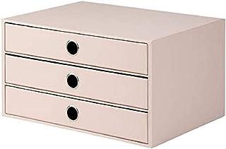Rössler S.O.H.O. 1524452583 Boîte de rangement à 3 tiroirs pour format A4, avec trou de préhension, poudre