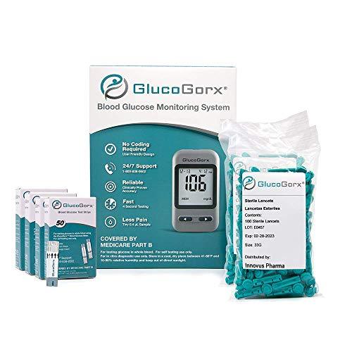 GlucoGorx Blood Glucose Diabetes Testing Kit - 310 Blood Test Strips, 325 Sterile Lancets,...