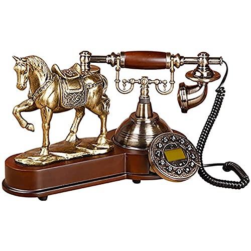 Teléfono Fijo Fijo Teléfono Retro Con Botón Dial Teléfono Con Cable Con Modelo De Caballo 3d Pantalla De Identificación De Llamadas Calendario De Manos Libres Con Luz Azul Para La Oficina En Casa