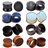 wood 5 8 plugs - SUPTOP 16pcs Lot Mixed Stone Plugs and Tunnels for Stretched Ears Wood Ear Gauges Hollow Saddle Size 0g-5/8 Inch