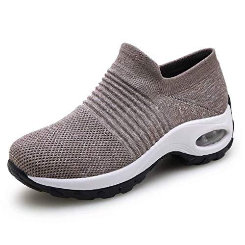 Zapatillas Deportivas de Mujer Gimnasio Zapatos Running Deportivos Fitness Correr Casual Ligero Comodos Respirable Negro Gris Morado 35-42