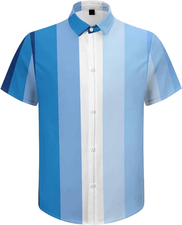 Men's Short Sleeve Button Down Shirt Gay Men's Flag Summer Shirts