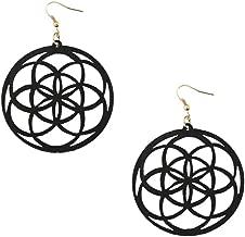 Large Lightweight Black Wood Mandala/Flower of Life Circle Drop Earrings