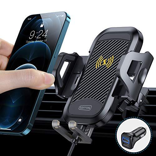 TORRAS Handyhalterung Auto mit Ladefunktion, Wireless Charger Auto Upgrade Kit mit Auto Ladegerät 2 Lüftungsclips Qi 10W Fast Charging Auto Handyhalter für iPhone 12/11/11Pro/SE/Samsung S20/S10 Usw.