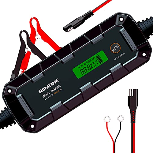 RIIMONE,RM101,6Amp,6V/12v Smart Car Battery Charger and Maintainer,Lithium Battery Charger for Lead-Acid AGM...