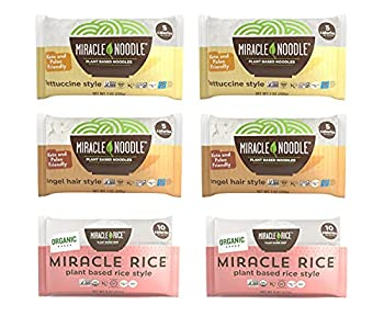 Miracle Noodle Pasta & Rice Variety Pack - Fettuccine & Angel Hair Plant Based Shirataki Noodles - Plant Based Miracle Rice - Keto Vegan Gluten-Free Low Carb Paleo - 2 Bags of Each  Pack of 6