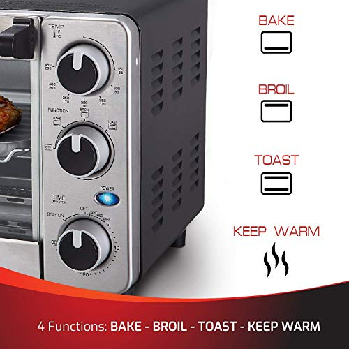 Toaster Oven 4 Slice, Multi-function Stainless Steel Finish with Timer - Toast - Bake - Broil Settings, Natural Con   vection - 1100 Watts of Power, Includes Baking Pan and Rack by Mueller Austria