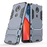 Cover per Motorola Moto E5 Plus (6 Pollici) 2 in 1 Hybrid Dual Layer Completamente Shock Resistente Armour con Cavalletto Funzione Custodia (Blu Nero)