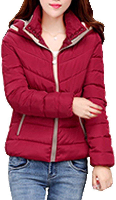 ALING Women Packable Hooded Puffer Down Jacket Short Warm Outdoor Coat