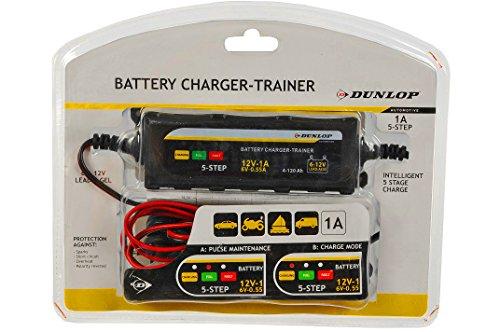 Dunlop, caricatore e mantenitore di batteria. Dispositivo di ricarica delle batterie per automobili, moto, veicoli. Per batterie di auto da 6 e 12 V
