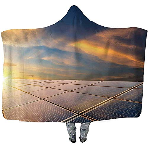 L.R.D Solar Panels Gooi Draagbare Hooded Deken, Volwassen Dubbele Verdikking Draagbare Deken 50