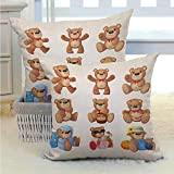 Cartoon Decorative Cover Sets for Pillows Set of Cute Happy Teddy Bears with Funny Different Faces Nostalgic Kids Design Good Decoration for Home for Couch/Bed/Sofa 2PCS Chocolate Cream -