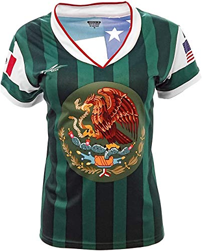 Mexico and USA Jersey Arza Design for Women_V Neck 100% Polyester Made in Mexico (X-Large) Green