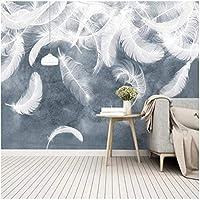 3D壁壁画 カスタム壁画 ホワイトフェザー リビングルームテレビソファ背景防水ステッカ-150x130cm/59x51inch