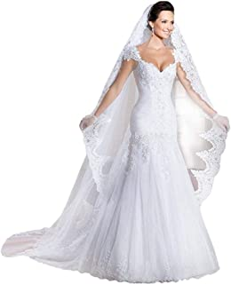 Ikerenwedding Women's Lace Trailing Mermaid Wedding Dress with Veil and Gloves