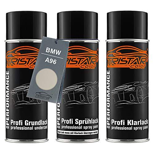 TRISTARcolor Autolack Spraydosen Set für BMW A96 Mineralweiss Perl Grundlack Basislack Klarlack Sprühdose 400ml