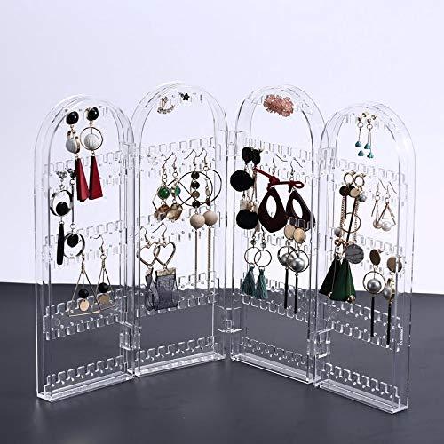 MUY Estante de joyería Transparente de acrílico Tipo Puerta Plegable Multifuncional, Pendientes, Caja de Almacenamiento, Estante de exhibición de joyería Creativa
