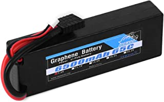 YOWOO 2S Graphene Battery 6500mAh 65C 7.4V RC Lipo Battery Hardcase with Traxxas Connector for 1/10 Scale Traxxas Stampede VXL 4x4 Traxxas Rustler Vxl E-Revo Brushless E-Maxx Brushless Ford Mustang GT