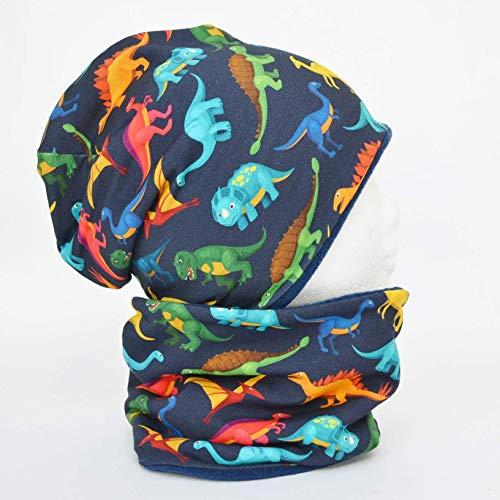 Fleece Loop Schal u Mütze SET Dinos grün rot bunt dunkelblau Junge für 4-5 - 6-7 - 8 Jahre