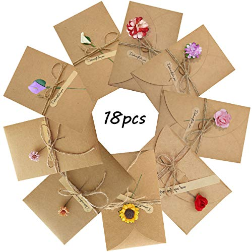 Grußkarte - WENTS Retro Kraftpapier-leere Umschläge Getrocknete Blumen Verzierte Postkarte Unbelegte Anmerkungs-Karten-Set für Weihnachten Geburtstag Valentinstag Muttertag(18 Stück)