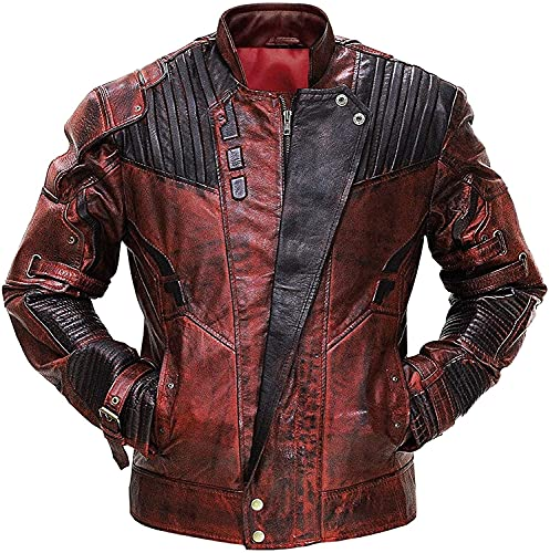 Peter Men Quill Distressed Maroon Star Superhero Guardians Lord Faux Leather Galaxy Adult Costume Jacket (M)