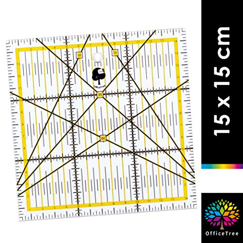 OfficeTree Schneiderlineal - Patchworklineal 15x15 cm - Lineal zum Nähen mit exakten Abmessungen und Zuschnitten