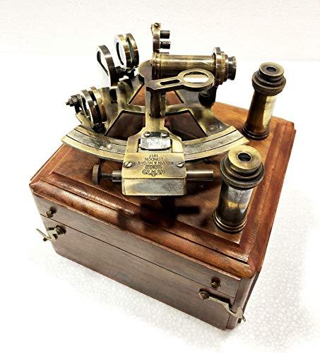 Antico Marittimo Nautico Sestante Doppio Telescopio Vintage Marine Astrolabe Nave Strumenti con Scatola di Legno