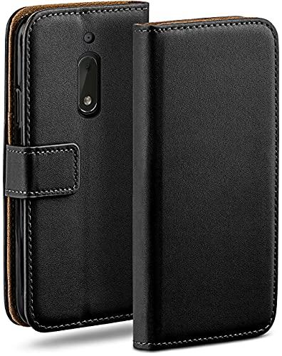 moex Klapphülle kompatibel mit Nokia 6 Hülle klappbar, Handyhülle mit Kartenfach, 360 Grad Flip Hülle, Vegan Leder Handytasche, Schwarz