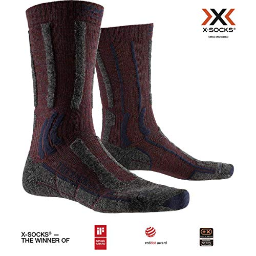 X-Socks Trek X Merino Light Chaussette Mixte Adulte, Rouge (Dark Ruby), M (Taille Fabricant : 39-41)