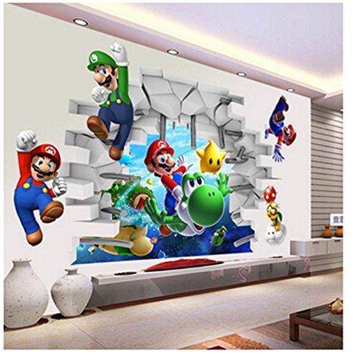 WANGJIA Wandtattoos & Wandbilder Super Mario Wandaufkleber Für Kinderzimmer Dekoration Cartoon Game Fans Wandtattoos Kunst Kinder Geburtstagsgeschenk