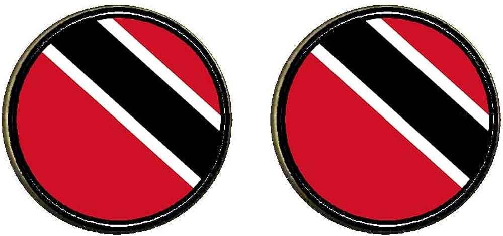 GiftJewelryShop Bronze Retro Style Trinidad and Tobago flag Photo Clip On Earrings 16mm Diameter