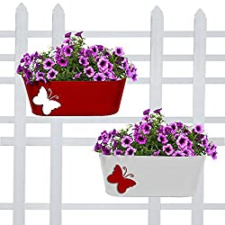 Trust Basket Butterfly Oval Galvanized Balcony Railing Planters