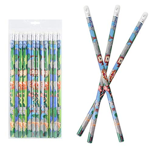 12er Set Bleistifte mit Radiergummi, Wildtiere je. ca. 19cm
