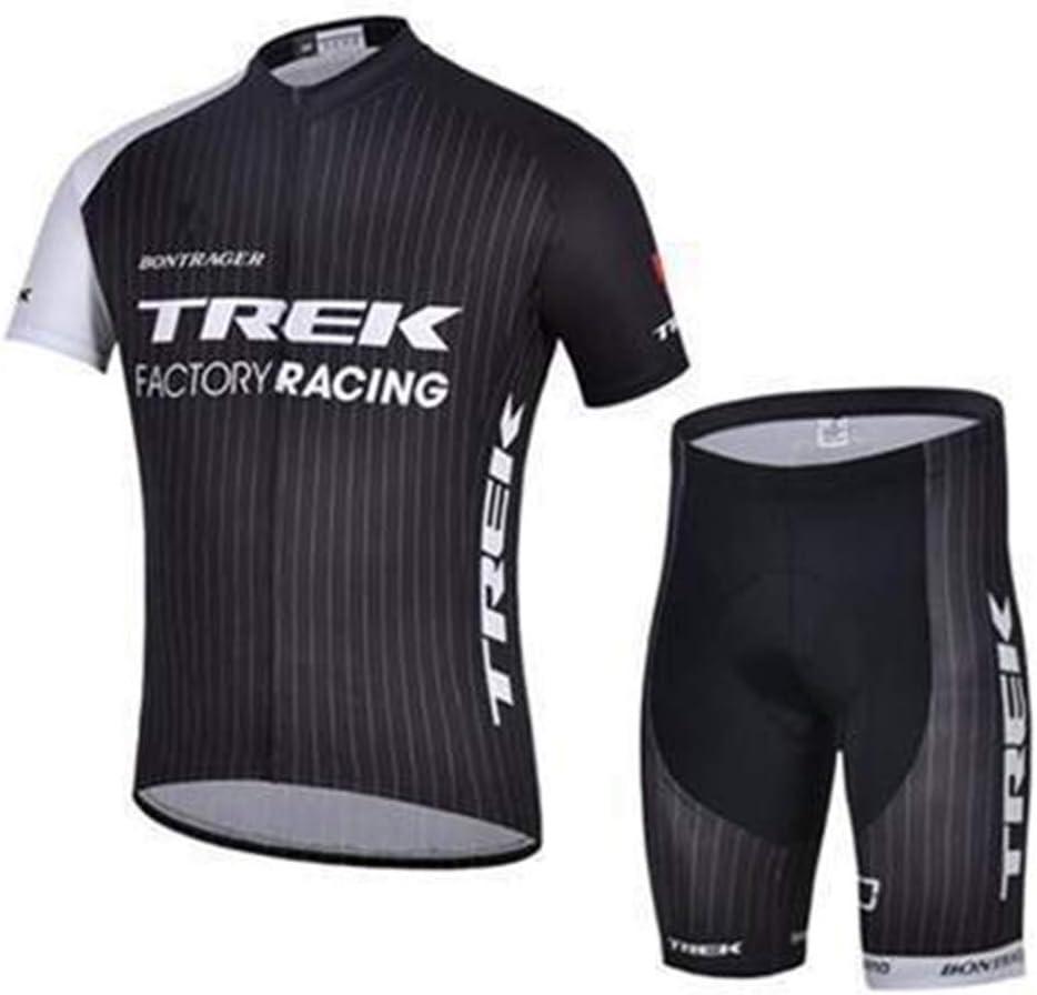 Racing Club Road Fahrrad Outdoor Bike Jersey Sommer Herren Radfahren Jersey Kurzarm Pro Trek Classic Black Schnelle Trockenkompressionskombination Color : A, Size : Small