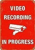 IUBBKI Cartel de estaño para grabación de vídeo de aluminio en curso, 11,8 x 7,8 pulgadas