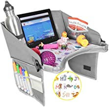 Kids Travel Tray by BonaBee Baby│Lap Organizer for Car Seat with Cup/iPad/Tablet Holder│Sturdy Play Table w/ABC Design Enables Snack Eating & Drawing for Kids, Toddlers & Babies│Stroller Compatible