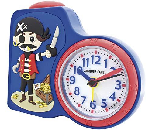 JACQUES KLEL kinderwekker jongens piraat blauw zonder tikken, met licht en Snooze ACB 715 PI