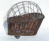 Tigana – Hundefahrradkorb für Gepäckträger aus Weide 56 x 36 cm mit Metallgitter Tierkorb Hinterradkorb Hundekorb für Fahrrad + Kissen in BRAUN - 5