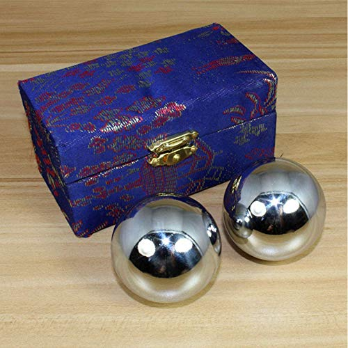 Lumpur Baoding Balls 2pcs Chrome Iron Portable Stress Relief Silver Fitness Equipment Strength Durable Finger Exercise Therapy Handballs Home Outdoor Hand Massage Health Care