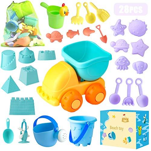 Sandspielzeug, 28 Stück Sandkasten Spielzeug Set mit Sand Förmchen, Soft Plastic Truck, Gießkanne, Eimer, Wasserrad, Schaufel Werkzeugsätze, Netzbeutel für 3 4 5 6 7 Jungen Mädchen