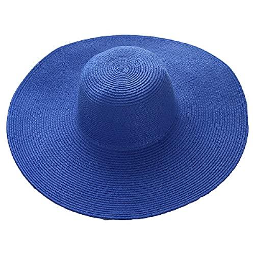 NJJX Moda De Verano Sombreros De Paja Flexibles Viajes De Vacaciones Casuales Sombreros De Sol De ala Ancha Sombreros De Playa Plegables para Mujeres con Cabezas Grandes 12