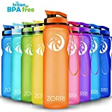 ZORRI Sportiva Bottiglia d'Acqua - 600ml/800ml/1litro Borraccia Sportiva a Prova di perdite, Riutilizzabile Senza BPA tritan Plastica Detox Bottiglie Acqua per Bambini, Palestra, Sport, Yoga