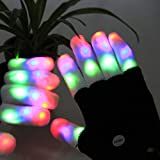 Led Gloves Light Rave Flashing Finger Lighting Up Party Glow 6 Mode Halloween Black Dance Electro New Fashion Glove (White Finger 6 Modes Light Up Blk Gloves) By C&H Solutions