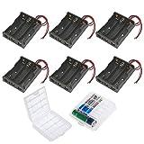 GTIWUNG 3 x 1,5V AA Caja de Soporte de Batería Caja de Almacenamiento de Batería de Plástico (3 Solts × 6 piezas)