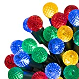 Christmas String Lights Multicolor, Battery Operated Indoor Fairy Lights with 50 Strawberry Shape Clear Led, Green Wire Holiday Lights for Halloween Xmas Tree Wedding Party Decor (G12, Multicolor)
