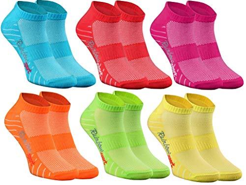 Rainbow Socks - Damen Herren Quarter Sport Socken - 6 Paar - Mehrfarbig - Größen 42-43