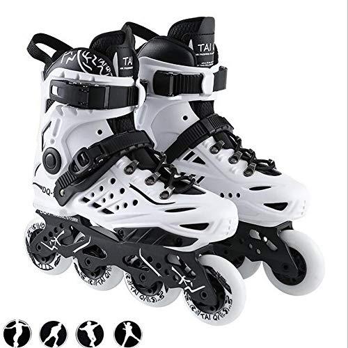 XIUWOUG Herren Damen Inliner Inlineskates | 82A Rollen | ABEC9 Chrome Kugellager | Unisex Fitness Skates für Erwachsene,Weiß,41