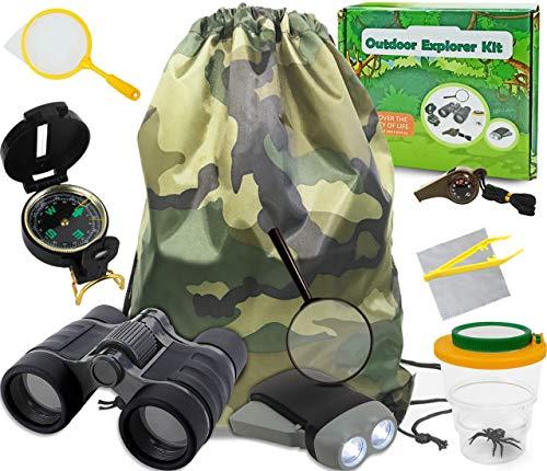 Genround Entdecker Set für Kinder, Geschenk für Jungen 10 Stück Kinder Outdoor Exploration Spielzeug für Draußen umfassen Fernglas Pfeife Kompass Pinzette Taschenlampe Lupe Bug Viewer
