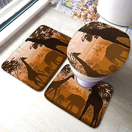 kglkb Badezimmer Vorleger 3-Teiliges Natur Mit Wilder Giraffe Elefant Flamingo Mode Bad Teppich Matten Badematte+ Kontur+ Toilettendeckel Für Die Inneneinrichtung